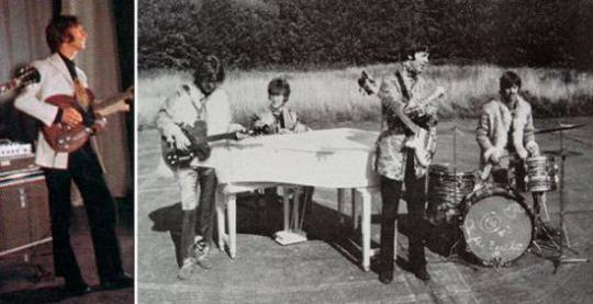 The guitar being played by George Harrison (left)