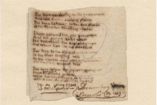 Charlotte Bronte's manuscript from 'I've been wondering in the greenwoods'
