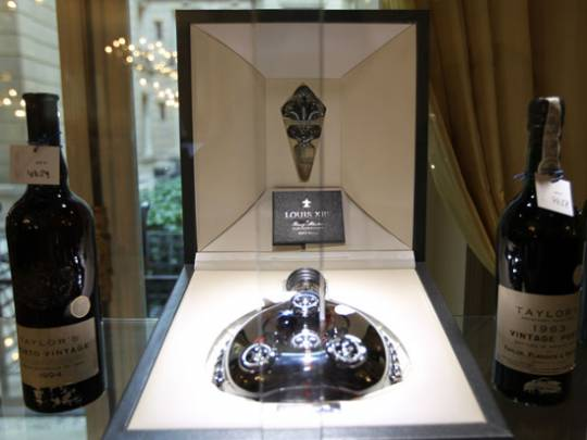 Paris' Crillon Hotel's bottle of Louis XIII Remy Martin Black Pearl cognac