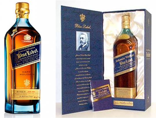 Engraved bottle of Jonnie Walker Blue Label