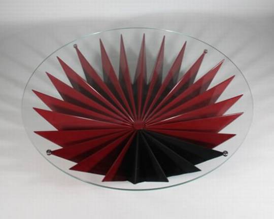 Cantelievered glass coffee table