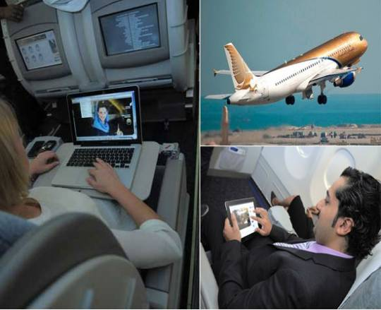 Gulf Air flight with live TV & internet