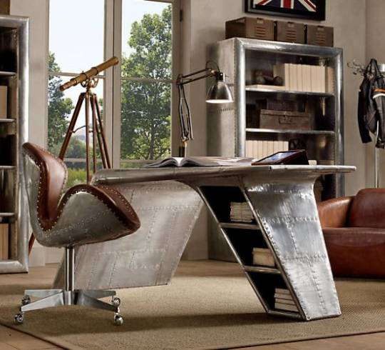 Restoration Hardware unveils Flight-Themed Aviator Wing Desk inspired by streamlined WW II fighter planes