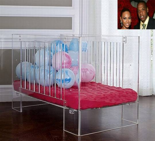 Lucite crib for Beyonce and Jay Z baby daughter
