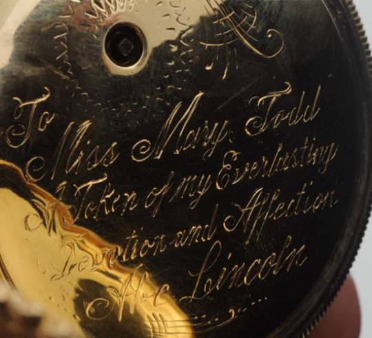 An inscribed private message by Abraham Lincoln on the watch's body