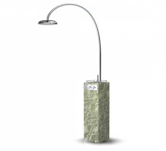Freestanding shower crafted in Swedish marble