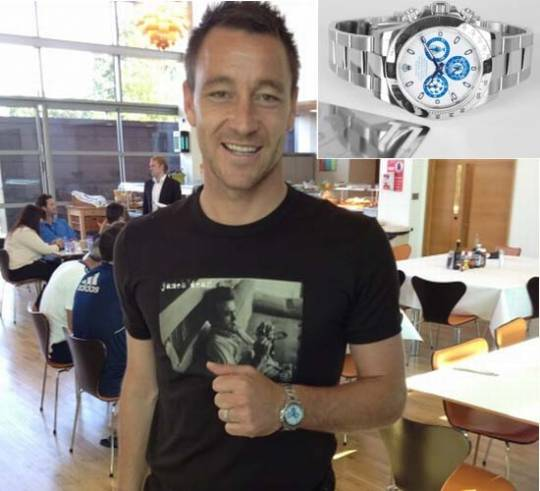 The most successful captain in Chelsea history, John Terry was spotted sporting his custom Titan Black Chelsea FC Rolex Daytona.