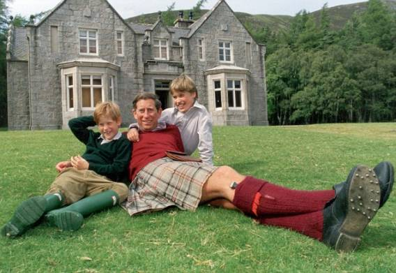 Prince Charles with his sons at Birkhall mansion
