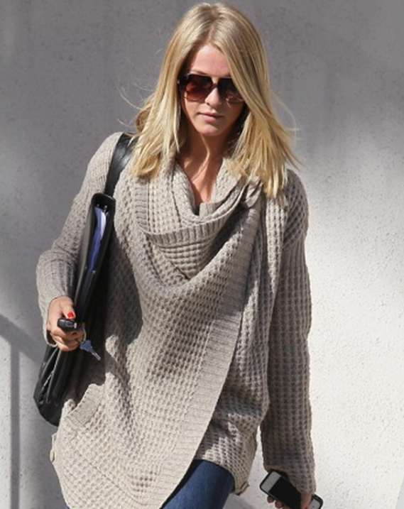 Julianne Hough was snapped wearing the INHABIT Wool-blend Wrap Cardigan while shopping.