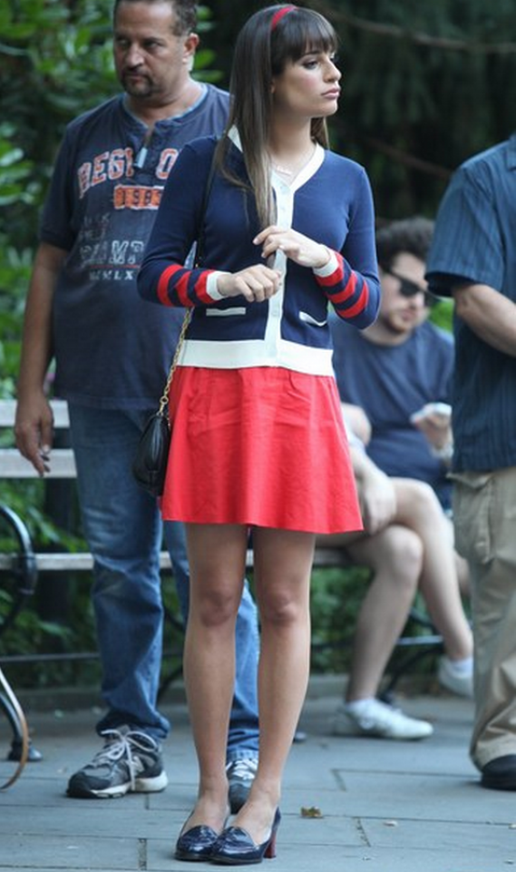 Lea was spotted wearing this DKNY ramie blend circle mini skirt on the Glee set in NYC.
