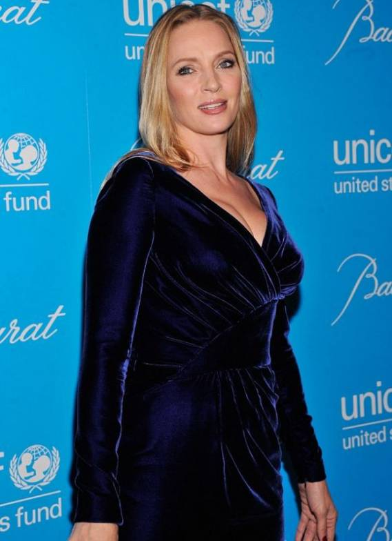 Recently the Kill Bill star has been spotted in a stunning floor length deep blue velvet gown on a precious event in New York.