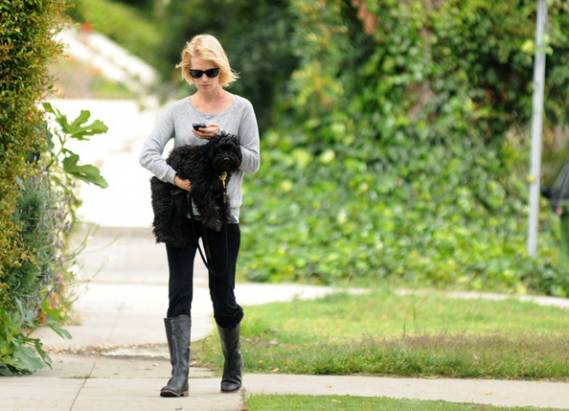 January Jones' love for her little black pooch can be understood from the fact that she dotes over it and takes it for regular walks all on her own.