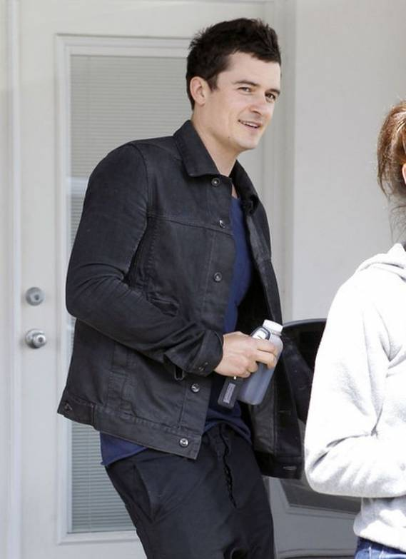 Orlando Bloom wears Bassike Slim Tapered Pants