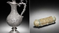 Ancient Indian Silver Claret Jug and an illuminated Qur'an in a silver-gilt case for sale