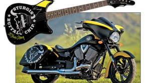 Sturgis custom made bike and guitar for the lucky winner at the Buffalo Chip Rally