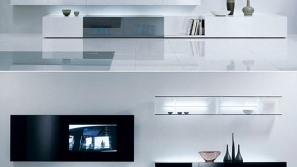 Contemporary wall unit by Acerbis hides audio/video units smartly