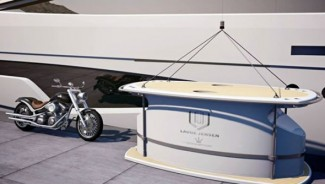 Motorcycle parking in a luxury yacht