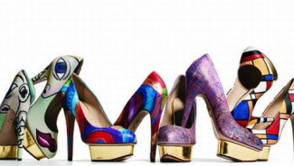 Boyarde Messenger's hand painted art shoes for Neiman Marcus brings forth various genres