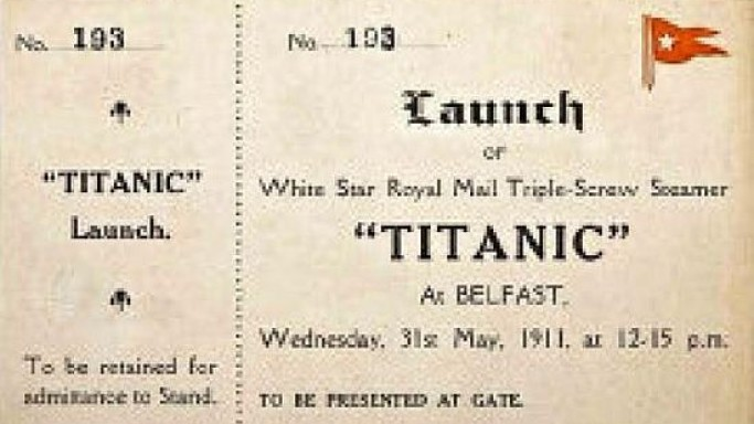 Original launch ticket for Titanic estimated to fetch up to $70,000