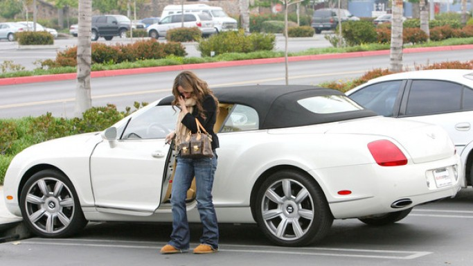 Jennifer Love Hewitt getting out of her Bentley
