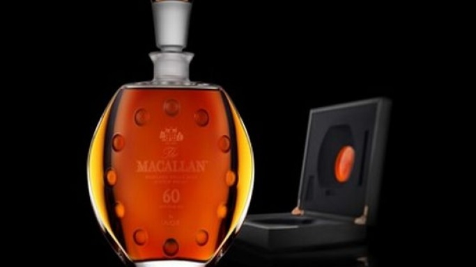 Limited edition Macallan 60 year old whiskey in Lalique Six Pillars Collection