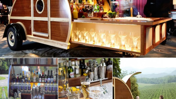Great American Woody is a custom trailer cum mobile bar for retro caravan lovers