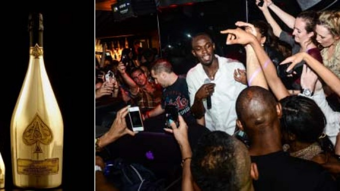 Usain Bolt celebrates Olympic gold winning with an £80,000 bottle of Armand de Brignac Champagne