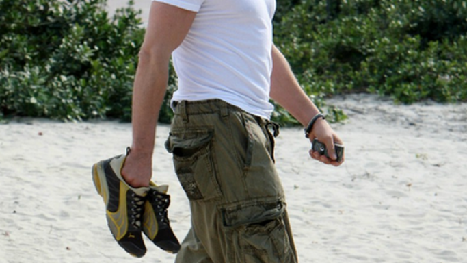 He has been spotted wearing these expensive running shoes on his beach outings.