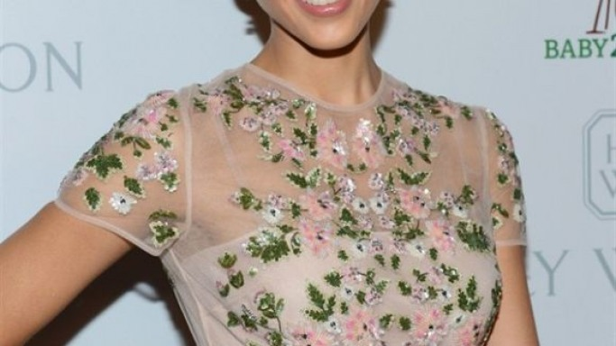 Jessica Alba in Floral Valentino cocktail dress