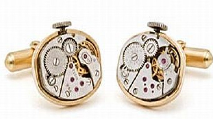 Mechanical watch movement cufflinks set in 18K gold